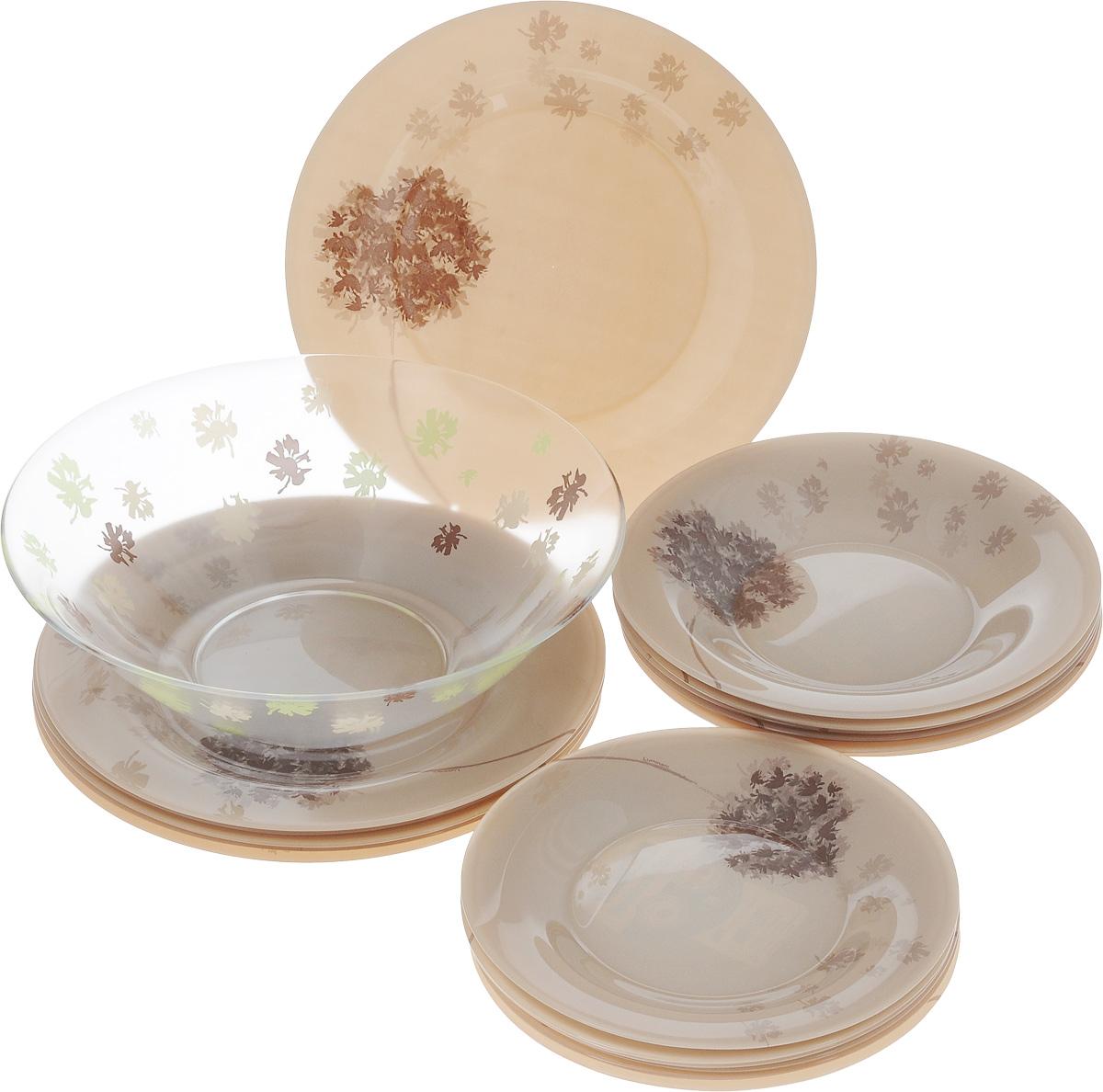Набор столовой посуды Luminarc Stella Chocolat, 19 предметовJ1917Набор Luminarc Stella Chocolat состоит из 6 суповых тарелок, 6 обеденных тарелок, 6 десертных тарелок и салатницы. Изделия выполнены из ударопрочного стекла, имеют оригинальный дизайн и классическую круглую форму. Посуда отличается прочностью, гигиеничностью и долгим сроком службы, она устойчива к появлению царапин и резким перепадам температур. Такой набор прекрасно подойдет как для повседневного использования, так и для праздников или особенных случаев. Набор столовой посуды Luminarc Stella Chocolat - это не только яркий и полезный подарок для родных и близких, а также великолепное дизайнерское решение для вашей кухни или столовой. Можно мыть в посудомоечной машине и использовать в микроволновой печи. Диаметр суповой тарелки: 21,5 см. Высота суповой тарелки: 3,2 см.Диаметр обеденной тарелки: 25 см. Высота обеденной тарелки: 1,8 см. Диаметр десертной тарелки: 19 см. Высота десертной тарелки: 1,2 см.Диаметр салатника: 26,5 см. Высота салатника: 8,5 см.