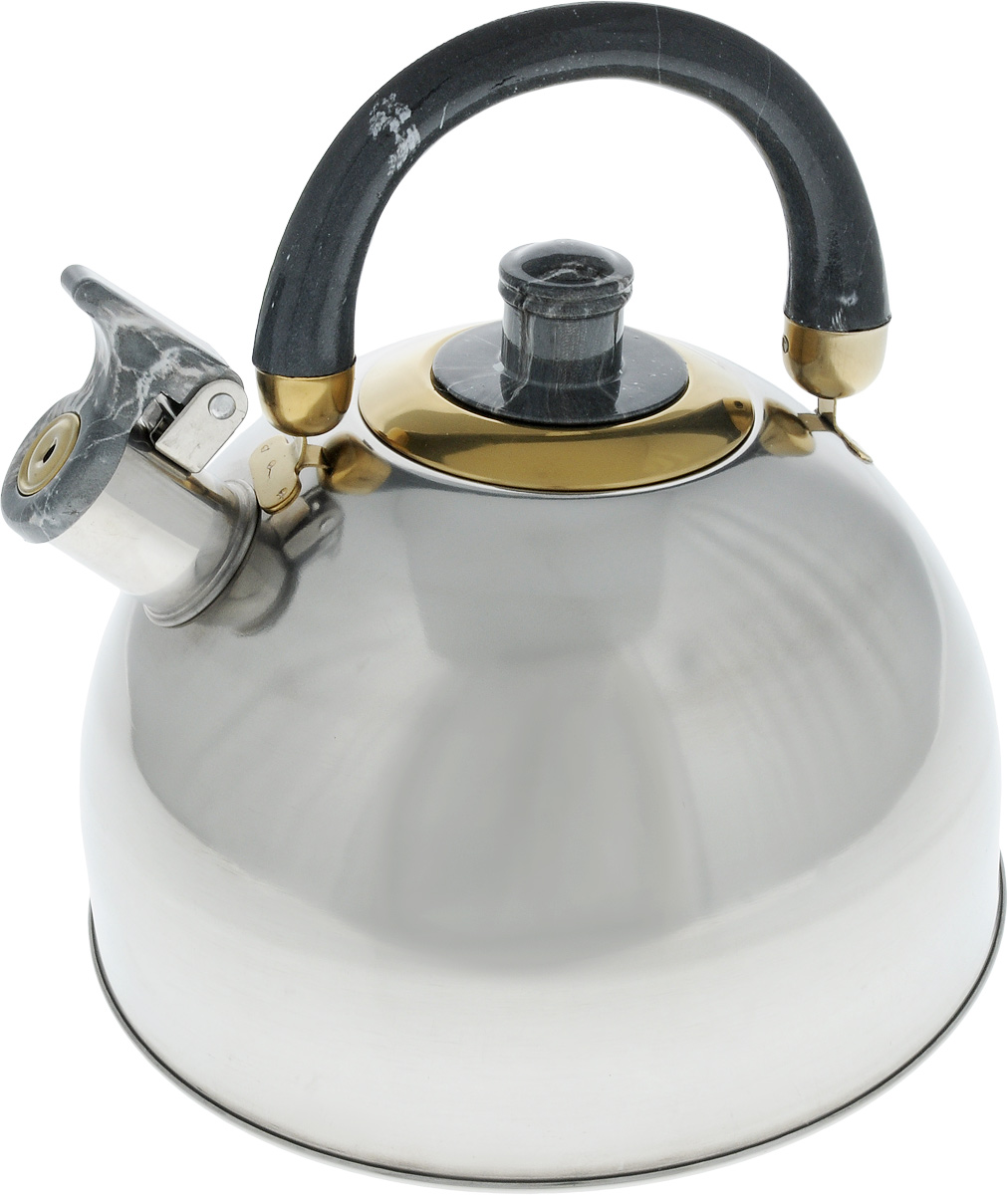 Чайник Bohmann Lite, со свистком, цвет: темно-серый, 4,5 л115510Чайник Bohmann Lite изготовлен из коррозионностойкой стали с зеркальной полировкой. Это материал, зарекомендовавший себя как идеально подходящий для изготовления кухонной посуды, столовых приборов и аксессуаров. Прочность, надежность, стойкость к кислотам и привлекательный внешний вид - основные свойства этого материала. Подвижная ручка, выполненная из термостойкого пластика под мрамор, обеспечивает комфортную эксплуатацию. Носик чайника оборудован свистком, который громким сигналом оповестит о закипании воды. Серия Lite - это посуда из стали, легкая и экономичная. Доступна для широкого круга потребителей, оптимальна по цене и качеству. Подходит для любой кухни, привлекательна по своим характеристикам, цене и практичности. Чайник подходит для электрических, газовых, галогеновых и стеклокерамических плит. Изделие можно мыть в посудомоечной машине. Диаметр (по верхнему краю): 8,5 см. Диаметр основания: 22 см. Высота чайника (без учета ручки и крышки): 12,5 см.