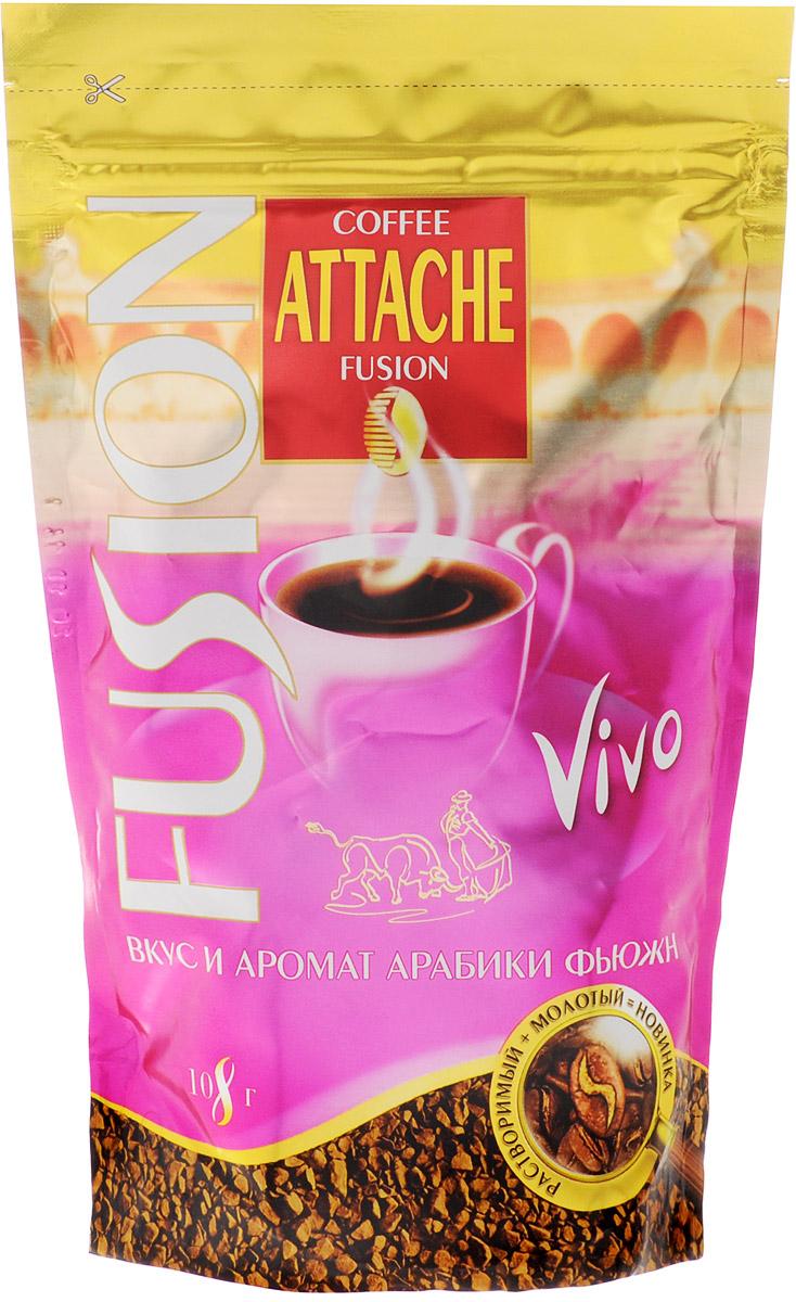 Attache Fusion Vivo кофе растворимый, 108 г4600946001039Растворимый кофе Attache Fusion Vivo - это уникальное слияние двух видов кофе - растворимого и молотого. Для вас придумана технология напыления свежей натуральной Арабики тонкого помола на кристаллы растворимого кофе freeze-dried. Теперь вы получаете в одном продукте скорость и удобство заваривания растворимого и живой аромат натурального кофе.Attache Fusion Vivo - это терпкий вкус с приятной горчинкой, который навевает живые воспоминания о страстной Испании - стране фламенко и корриды. Четкий ритм кастаньет... Розовый плащ-капоте... Яркий праздник... Сильные эмоции...