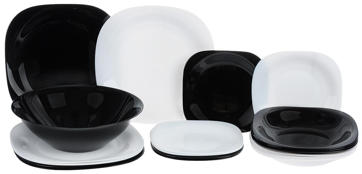 Набор столовой посуды Luminarc Carine, 19 предметов420200Набор Luminarc Carine состоит из 6 суповых тарелок, 6 обеденных тарелок, 6 десертных тарелок и салатника. Посуда изготовлена из ударопрочного стекла, устойчива к повреждениям, истиранию, в процессе эксплуатации не впитывает запахи и долгое время сохраняет первоначальные краски. Посуда Luminarc не только отвечает всем техническим требованиям к современной функциональной посуде, но и обладает высокими эстетическими характеристиками. Тарелки имеют стильную квадратную форму и монохромную цветовую гамму. Это современная, красивая, практичная столовая посуда, которая подойдет как для повседневного использования, так и для торжественных случаев. Размер суповой тарелки: 21 х 21 см. Размер обеденной тарелки: 26 х 26 см. Размер десертной тарелки: 19 х 19 см. Диаметр салатника (по верхнему краю): 27 см. Высота стенки салатника: 8,5 см.