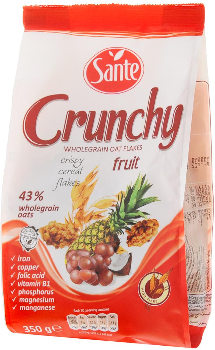 Sante Crunchy хрустящие овсяные хлопья с фруктами, 350 г24Хрустящие овсяные хлопья с фруктами Sante Crunchy - это питательная смесь хрустящих, золотистых, нежно обжаренных овсяных хлопьев.Продукт обеспечивает сбалансированное питание за счет полезных ингредиентов: белок, клетчатка, растительные жиры с высоким содержанием полезных жирных кислот, витаминов, микро- и макроэлементов, которые помогают поддерживать энергию и тонус в течение всего дня.Основной элемент Crunchy - это цельнозерновой овес, который имеет более высокую питательную ценность по сравнению с другими злаками, такими как пшеница и рожь. Зерно овса богато белком, незаменимыми аминокислотами (особенно лизином, который отсутствует в других зерновых). Содержание фосфора, меди и фолиевой кислоты способствует укреплению костей и зубов. Медь также улучшает процесс обмена веществ, а фолиевая кислота способствует правильному функционированию иммунной системы.Способ приготовления: достаточно добавить молоко, кефир, сок или йогурт, и ваш завтрак (полдник, легкий ужин) готов. Уважаемые клиенты! Обращаем ваше внимание, что полный перечень состава продукта представлен на дополнительном изображении.