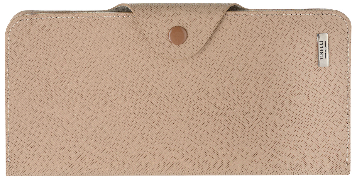 Купюрник Tirelli Виктория, цвет: капучино. 15-252-05INT-06501Купюрник Tirelli Виктория изготовлен из натуральной кожи цвета капучино с рельефной текстурой и закрывается хлястиком на кнопку. Купюрник оформлен фирменным логотипом. Внутри имеется четыре отделения для купюр, шестнадцать кармашков для хранения пластиковых карт, визиток, дисконтных карт, два отделения с сетчатым окошком для фотографий, три потайных кармашка для бумаг, карман на застежке-молнии и открытый кармашек.Такой купюрник станет отличным подарком для человека, ценящего качественные и необычные вещи.Изделие упаковано в подарочную коробку синего цвета с логотипом фирмы Tirelli. Характеристики:Материал: натуральная кожа, металл. Цвет: капучино. Размер портмоне (в сложенном виде): 9,5 см х 18 см х 2,5 см.