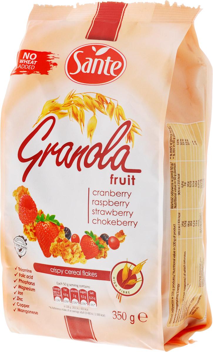 Sante Granola хрустящие злаковые хлопья склюквой, малиной, клубникой,350г5900617002969Granola Sante - продукт, приготовленный из натуральных ингредиентов, без искусственных красителей. Обычный сахар и соль заменяются тростниковым сахаром и гималайской солью. Granola содержит цельнозерновые злаки, сохраняя их ценные и полезные ингредиенты, - витамины группы B, растительный белок и минералы - фосфор, медь и марганец. Granola является богатым источником клетчатки.Уважаемые клиенты! Обращаем ваше внимание, что полный перечень состава продукта представлен на дополнительном изображении.
