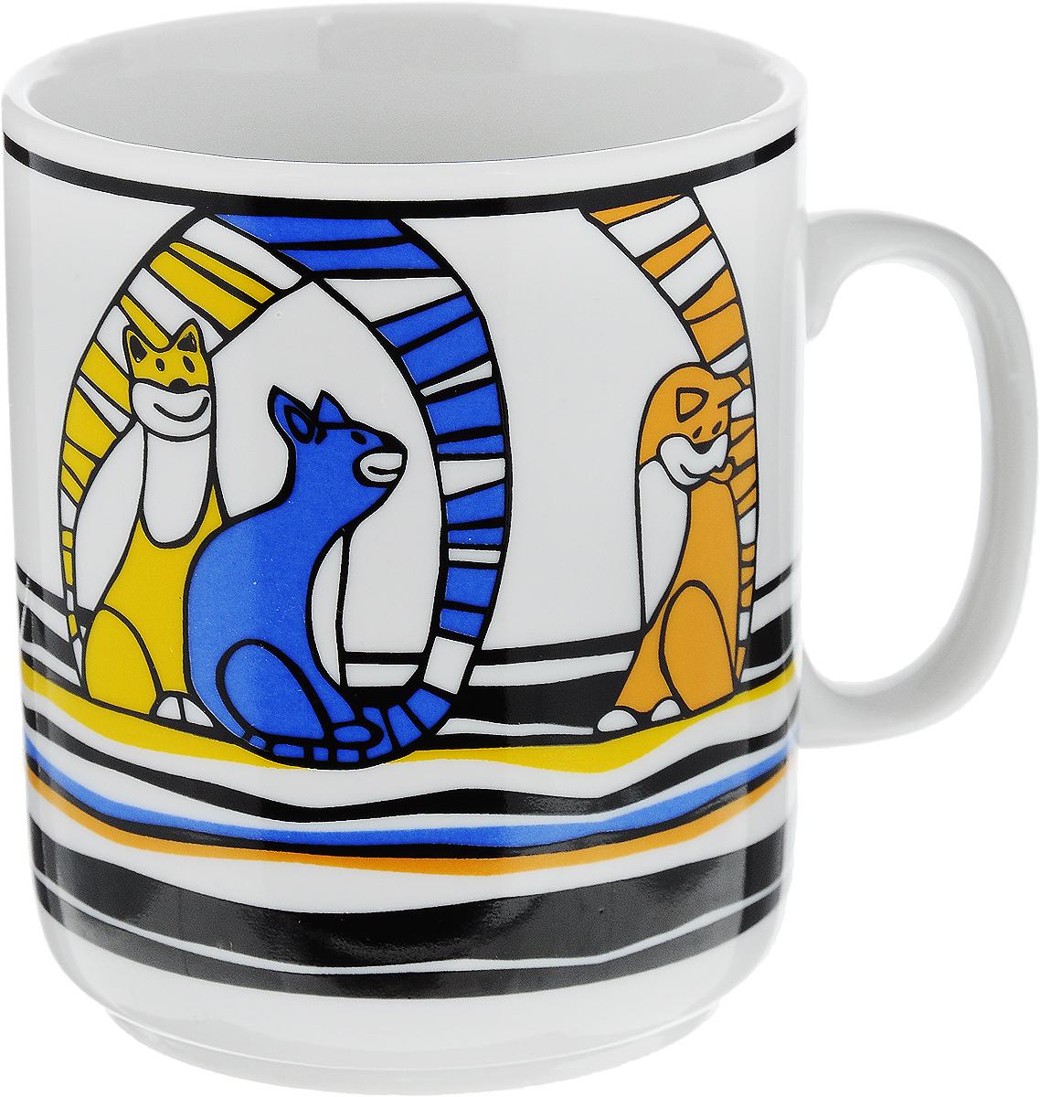 Кружка Фарфор Вербилок Коты, цвет: желтый, синий, оранжевый, 300 мл54 009312Кружка Фарфор Вербилок Коты способна скрасить любое чаепитие. Изделие выполнено из высококачественного фарфора. Посуда из такого материала позволяет сохранить истинный вкус напитка, а также помогает ему дольше оставаться теплым.Диаметр по верхнему краю: 8 см.Высота кружки: 9,5 см.