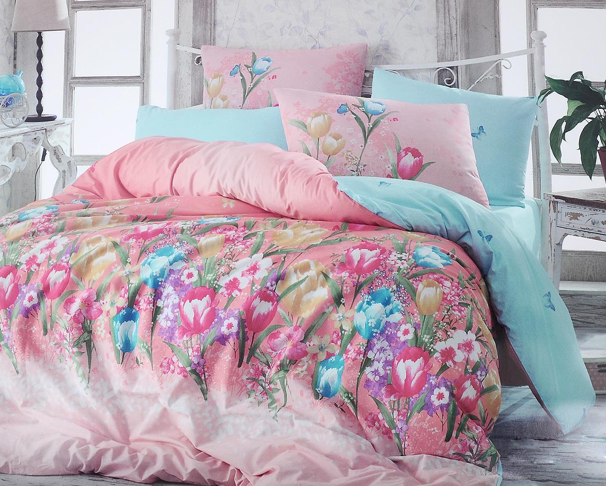 Комплект белья Hobby Home Collection Bianca, евро, наволочки 50x70, 70x70, цвет: розовый, голубойS03301004Комплект белья Hobby Home Collection Bianca состоит из простыни, пододеяльника и 4 наволочек. Белье выполнено из ранфорса - это ткань из 100% натурального хлопка, которая легко стирается, практичнее льна, подстраивается под температуру воздуха - зимой на таком белье тепло, летом - прохладно. Мягкость и нежность материала создает чувство комфорта и защищенности. У хлопка хорошая проводимость тепла, поэтому постельное белье из него может надолго оставаться свежим. Постельное белье с оригинальными дизайнами станет отличным выбором для людей, стремящихся всегда быть стильными.