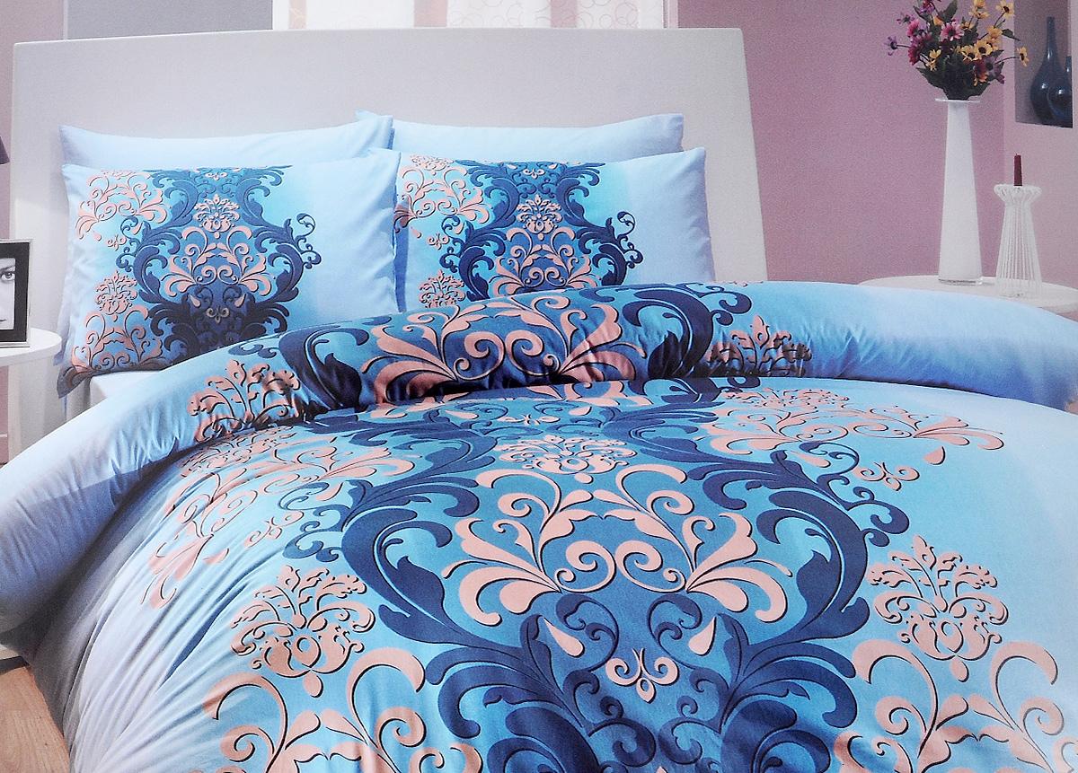 Комплект белья Hobby Home Collection Almeda, евро, наволочки 50x70, 70x70, цвет: голубойRC-100BWCКомплект белья Hobby Home Collection Almeda состоит из простыни, пододеяльника и 4 наволочек. Белье выполнено из ранфорса - это ткань из 100% натурального хлопка, которая легко стирается, практичнее льна, подстраивается под температуру воздуха - зимой на таком белье тепло, летом - прохладно. Мягкость и нежность материала создает чувство комфорта и защищенности. У хлопка хорошая проводимость тепла, поэтому постельное белье из него может надолго оставаться свежим. Постельное белье с оригинальными дизайнами станет отличным выбором для людей, стремящихся всегда быть стильными.