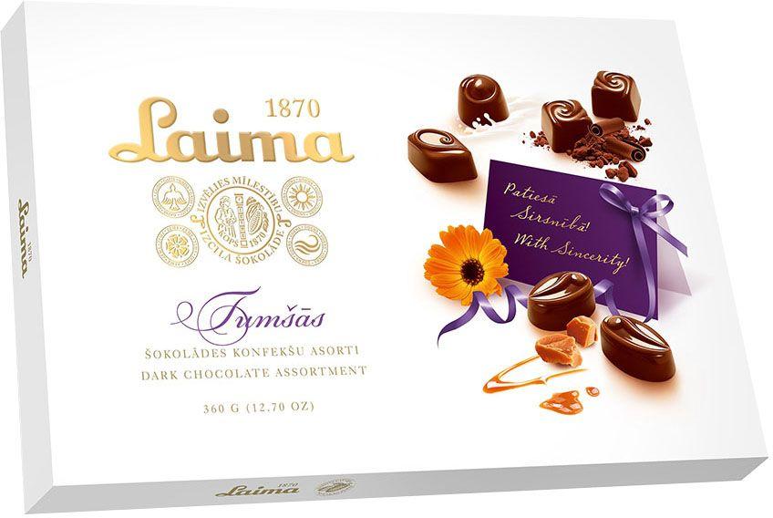 Laima Ассорти конфет в темном шоколаде, 360 г5060295130016Ассорти конфет в темном шоколаде 4 разных форм с 3 начинками - молочный крем, крем-какао, крем-ирис-тоффи.
