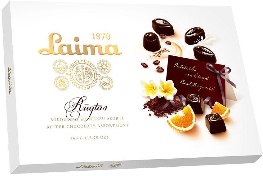 Laima Ассорти конфет в горьком шоколаде, 360 г0120710Ассорти конфет в горьком шоколаде 4 разных форм с 3 начинками - молочный крем, крем-какао, крем-ирис-тоффи.