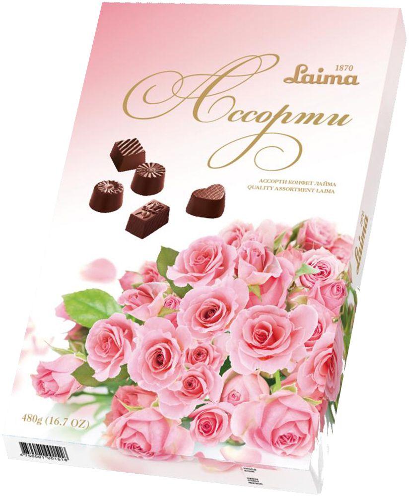 Laima Розовый букет Ассорти шоколадных конфет, 480 г0120710Конфеты 5 разных форм с 3 начинками: молочная помадка, фруктовое желе, крем-какао. В коробке европейского дизайна.