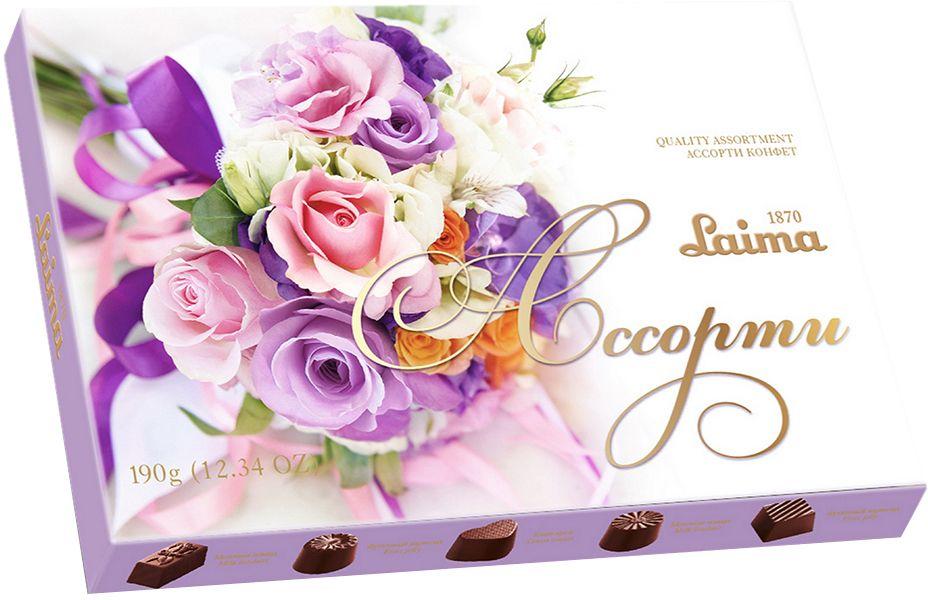 Laima Лиловый букет Ассорти карамельных конфет мини, 190 г0120710Конфеты 5 разных форм и с 3-мя начинками: молочная помадка, фруктовое желе, крем-какао. В коробке европейского дизайна.