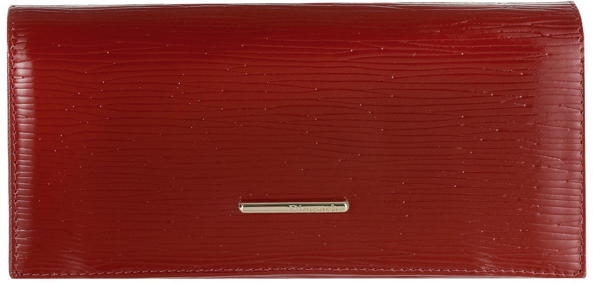 Портмоне женское Dimanche, цвет: красный. 141490300нПортмоне женское Dimanche выполнено из натуральной кожи с декоративным тиснением. Изделие оформлено металлической пластинкой с названием бренда. Внутри расположены три вместительных отделения для купюр, одно отделение для мелочи на молнии и два кармана для мелких бумаг. Также внутри находятся восемь открытых накладных карманов для визитных и дисконтных карт, один из которых с сетчатым окошком. Изделие застегивается клапаном на кнопку.Портмоне упаковано в фирменную коробку.