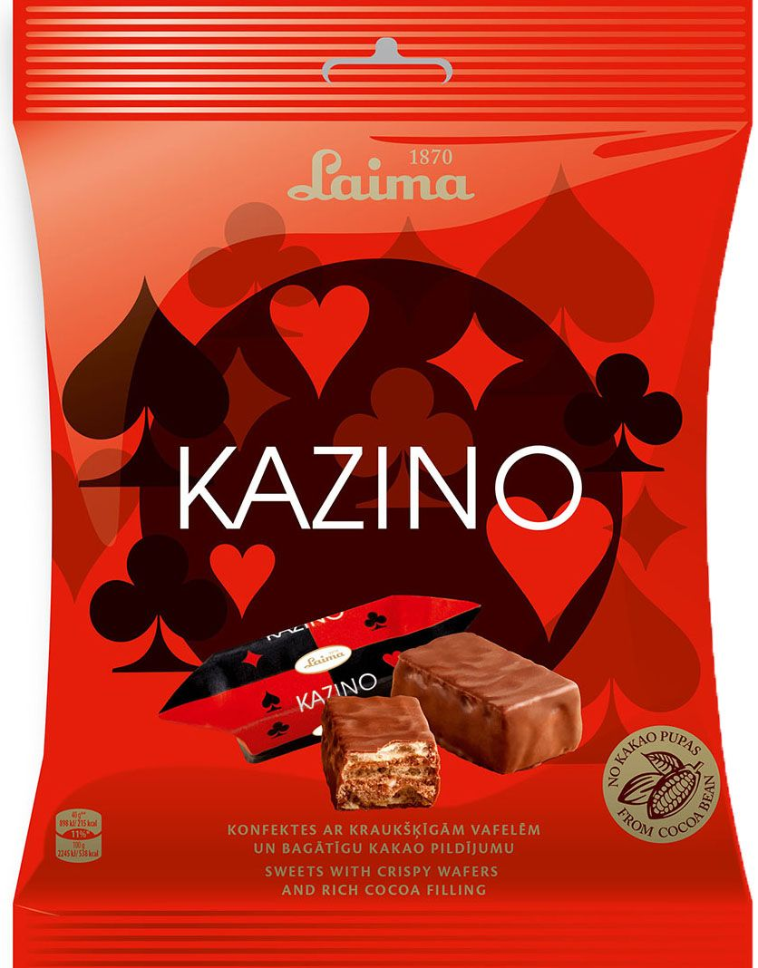 Laima Казино глазированные вафельные конфеты с начинкой какао, 160 г0120710Глазированные вафельные конфеты с начинкой какао Казино.