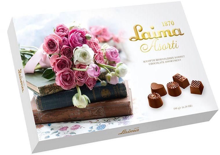Laima Книги Ассорти шоколадных конфет, 190 г0120710Конфеты 5 разных форм с 3-мя начинками: молочная помадка, фруктовое желе, крем-какао. В коробке европейского дизайна.
