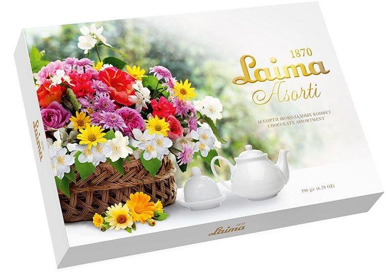 Laima Корзина цветов Ассорти конфет, 190 г0120710Конфеты 5 разных форм и с 3-мя начинками: молочная помадка, фруктовое желе, крем-какао. В коробке европейского дизайна.
