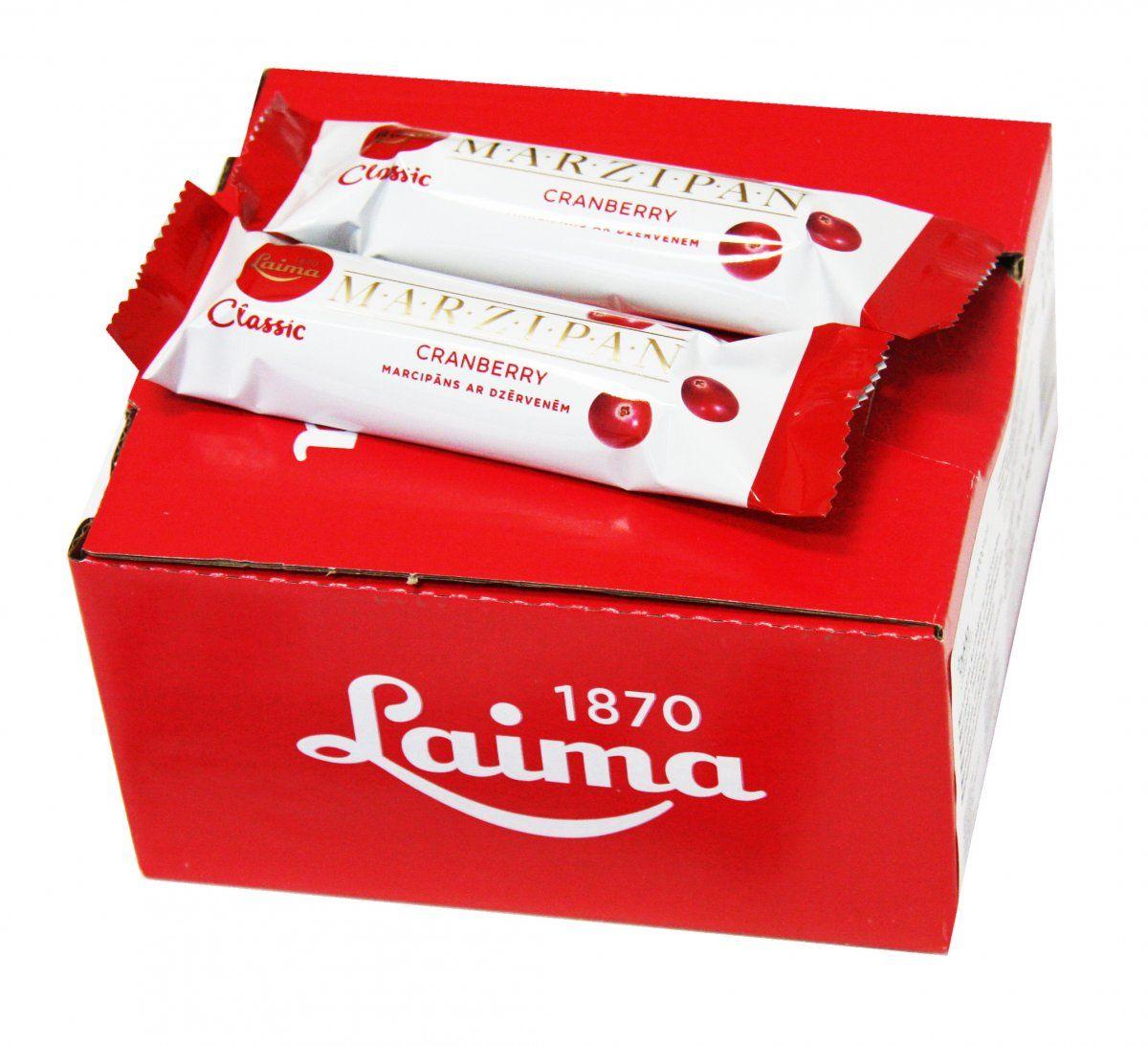 Laima Конфета марципановая с кусочками клюквы шоколадный батончик, 40 г0120710Марципановая конфета. Содержание миндаля по европейским стандартам. Только миндаль и клюква в темном шоколаде.
