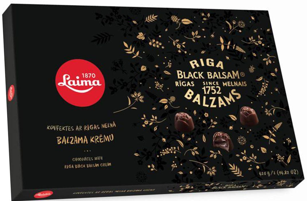 Laima С Рижским бальзамом Набор конфет в темном шоколаде, 420 г0120710Ассорти конфет в темном шоколаде с начинками: с кремом, с добавлением Рижского темного бальзама.