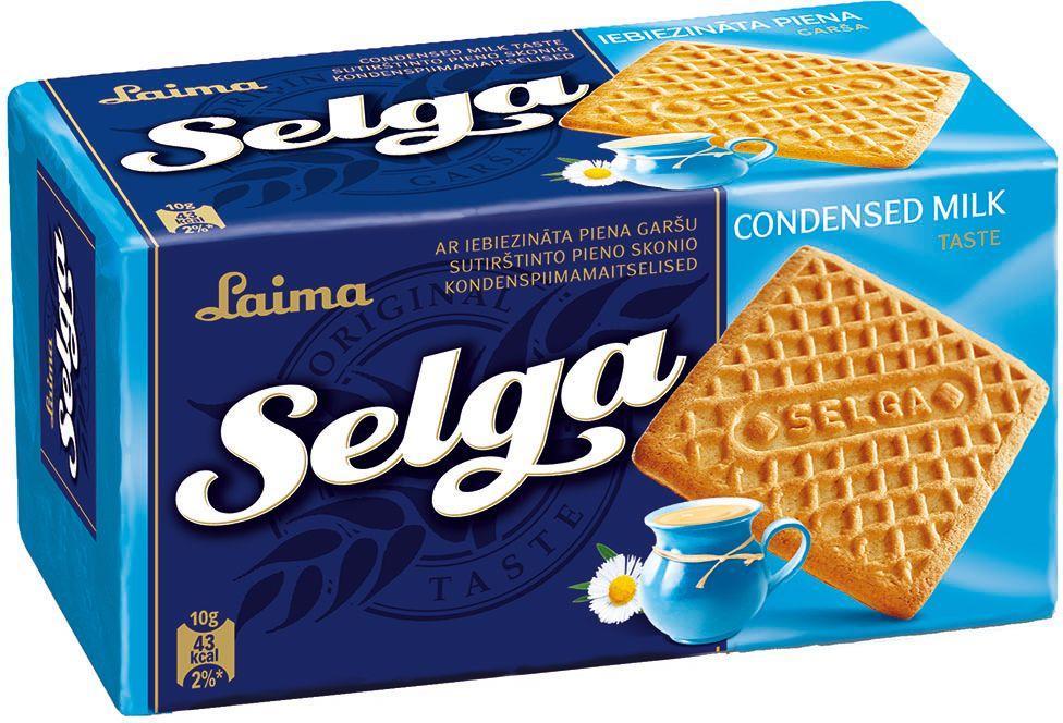 Selga Печенье со вкусом сгущенного молока, 180 г0120710Классическое сахарное печенье со вкусом сгущенного молока.