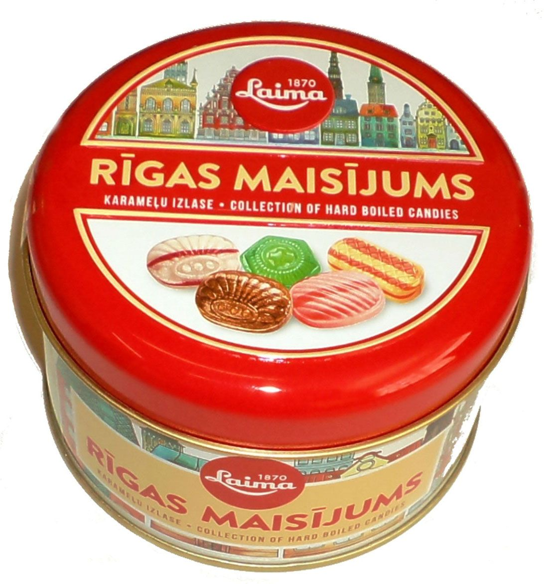 Laima Рижская смесь пять видов карамели, 300 г0120710Лакомство из Риги. Железная банка, в которой 5 видов карамели с фруктовой начинкой, молочной, ореховой, леденцы.