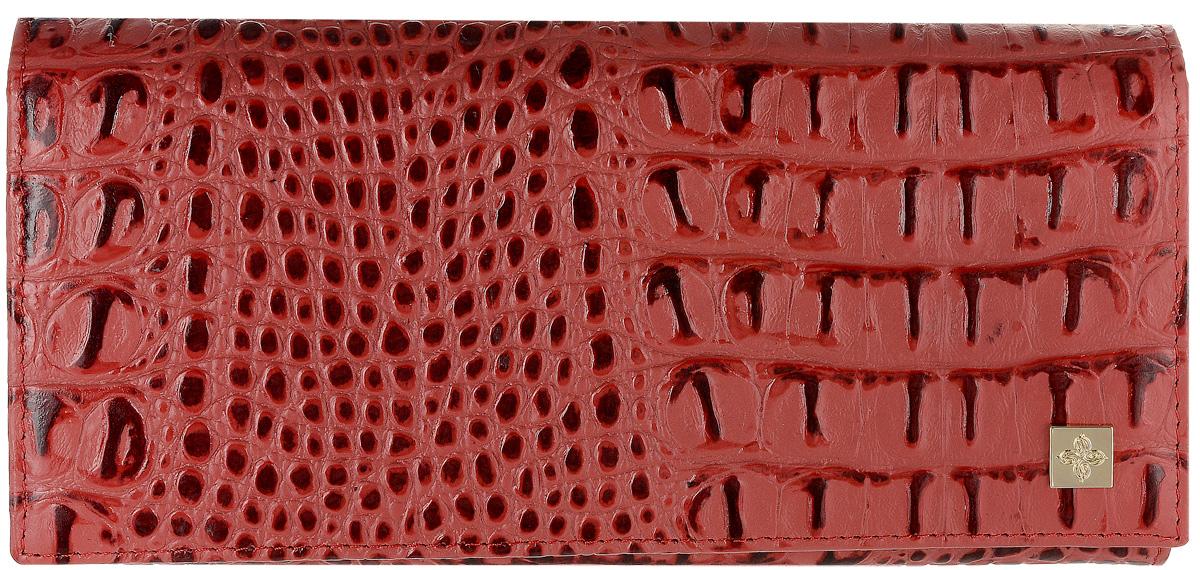 Портмоне женское Dimanche Loriсata, цвет: бледно-красный, бордовый. 543/8INT-06501Стильное женское портмоне Dimanche Loriсata выполнено из натуральной кожи с тиснением под рептилию. Изделие оформлено металлической пластинкой с логотипом бренда. Внутри расположены три вместительных отделения для купюр, отделение для мелочи на молнии и два открытых накладных кармана для мелких бумаг. Также внутри находятся восемь карманов для визитных и дисконтных карт, один из которых с сетчатым окошком. Изделие застегивается клапаном на кнопку. Портмоне упаковано в фирменную коробку.