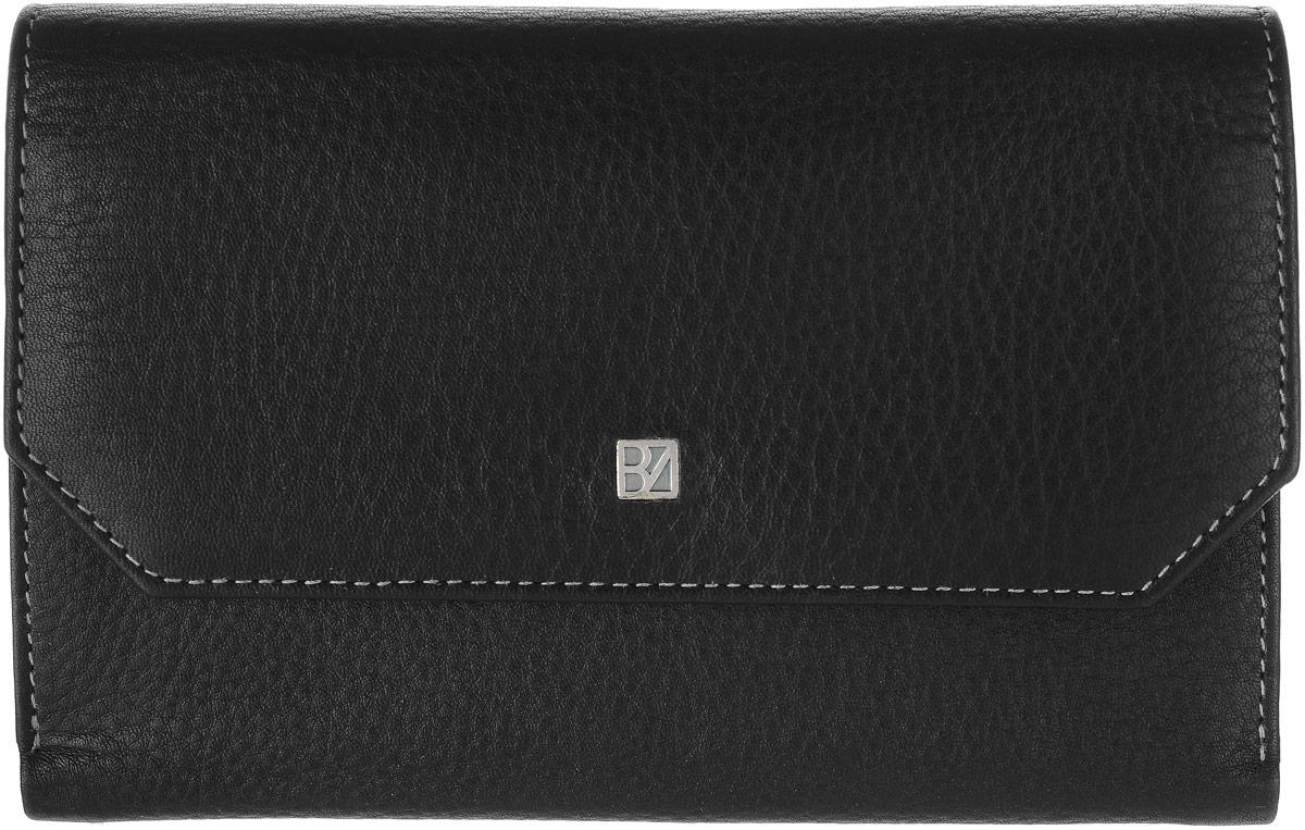 Кошелек женский Bodenschatz, цвет: черный. 8-982381270Женский кошелек Bodenschatz выполнен из натуральной высококачественной кожи. Изделие закрывается клапаном на застежку-кнопку. Внутри располагаются отделение для купюр, отделение для мелочи на молнии, пять потайных кармашков, десять кармашков для пластиковых карт, снаружи на задней стенке карман для бумаг.