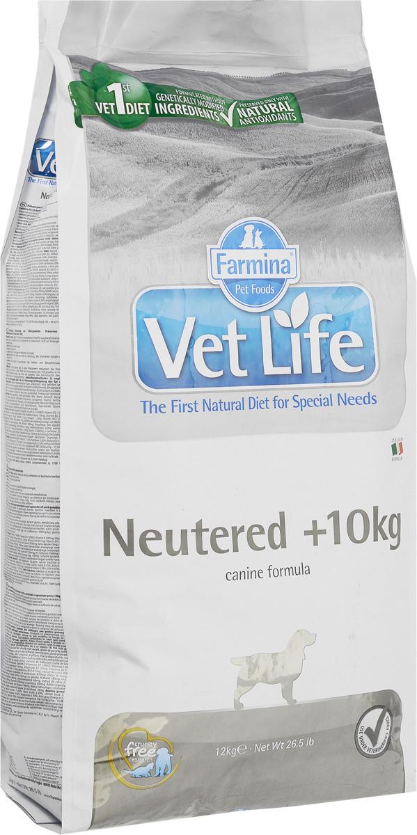 Корм сухой Farmina Vet Life для взрослых кастрированных или стерилизованных собак весом более 10 кг, диетический, 12 кг0547Корм сухой Farmina Vet Life - полноценное и сбалансированное питание для взрослых кастрированных или стерилизованных собак весом более 10 кг для контроля веса и профилактики развития мочекаменной болезни.Рацион с низким содержанием жира и высоким содержанием белка обеспечивает поддержание оптимальной массы тела. L-карнитин стимулирует окисление жиров и преобразование их в энергию. Низкое содержание углеводов снижает вероятность развития диабета. Сульфат кальция способствует контролю pH мочи и снижает риск развития мочекаменной болезни.Рекомендации по кормлению: использовать по назначению ветеринарного врача.Товар сертифицирован.