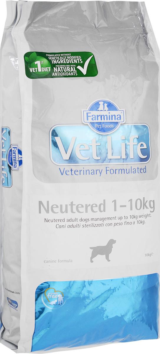 Корм сухой Farmina Vet Life для взрослых кастрированных или стерилизованных собак весом до 10 кг, диетический, 10 кг4620770270012Корм сухой Farmina Vet Life - полноценное и сбалансированное питание для взрослых кастрированных или стерилизованных собак весом до 10 кг для контроля веса и профилактики развития мочекаменной болезни.Рацион с низким содержанием жира и высоким содержанием белка обеспечивает поддержание оптимальной массы тела. L-карнитин стимулирует окисление жиров и преобразование их в энергию. Низкое содержание углеводов снижает вероятность развития диабета. Сульфат кальция способствует контролю pH мочи и снижает риск развития мочекаменной болезни.Рекомендации по кормлению: использовать по назначению ветеринарного врача.Товар сертифицирован.