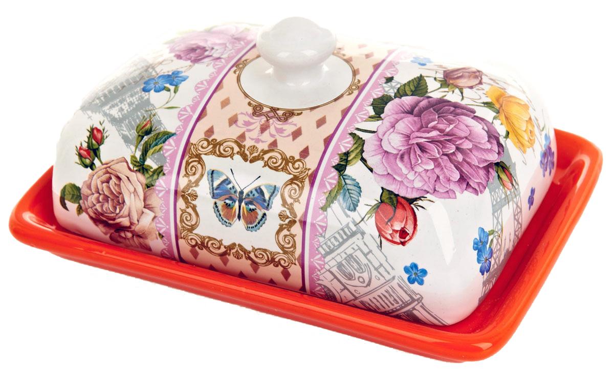 Масленка ENS Group Лето в Европе. 0660071115510Масленка Лето в Европе, изготовленная из керамики, предназначена для красивой сервировки и хранения масла. Она состоит из крышки с удобной ручкой и подноса. Масло в ней долго остается свежим, а при хранении в холодильнике не впитывает посторонние запахи. Гладкая поверхность обеспечивает легкую чистку.