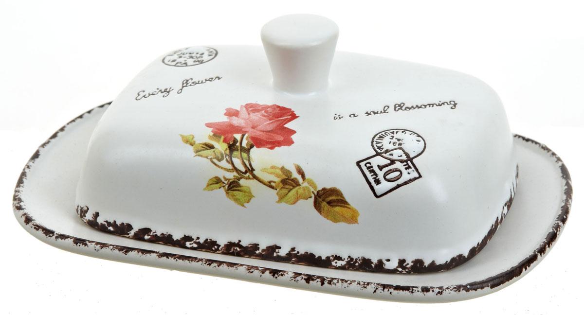 Масленка ENS Group Чайная роза, 19 х 12,5 х 7 см. 1750037115510Масленка Flower, изготовленная из керамики, предназначена для красивой сервировки и хранения масла. Она состоит из крышки с удобной ручкой и подноса. Масло в ней долго остается свежим, а при хранении в холодильнике не впитывает посторонние запахи. Гладкая поверхность обеспечивает легкую чистку.Можно мыть в посудомоечной машине.