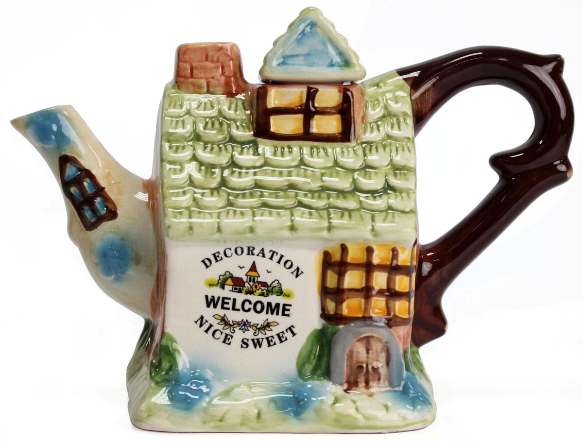 Чайник заварочный Домик, 600 мл. 824388391602Чайник заварочный Домик, выполненный из керамики, позволит вам заварить свежий, ароматный чай. Изделие имеет не обычный внешний вид. Такой чайник прекрасно оформит стол к чаепитию и станет его неизменным атрибутом.