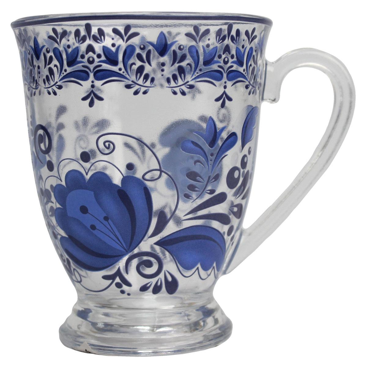 Кружка Vetta Гжельские узоры, 360 мл. 87903254 009312Кружка Vetta Гжельские узоры, изготовленная из стекла и оформленная красивым рисунком, станет незаменимым аксессуаром на вашей кухне.