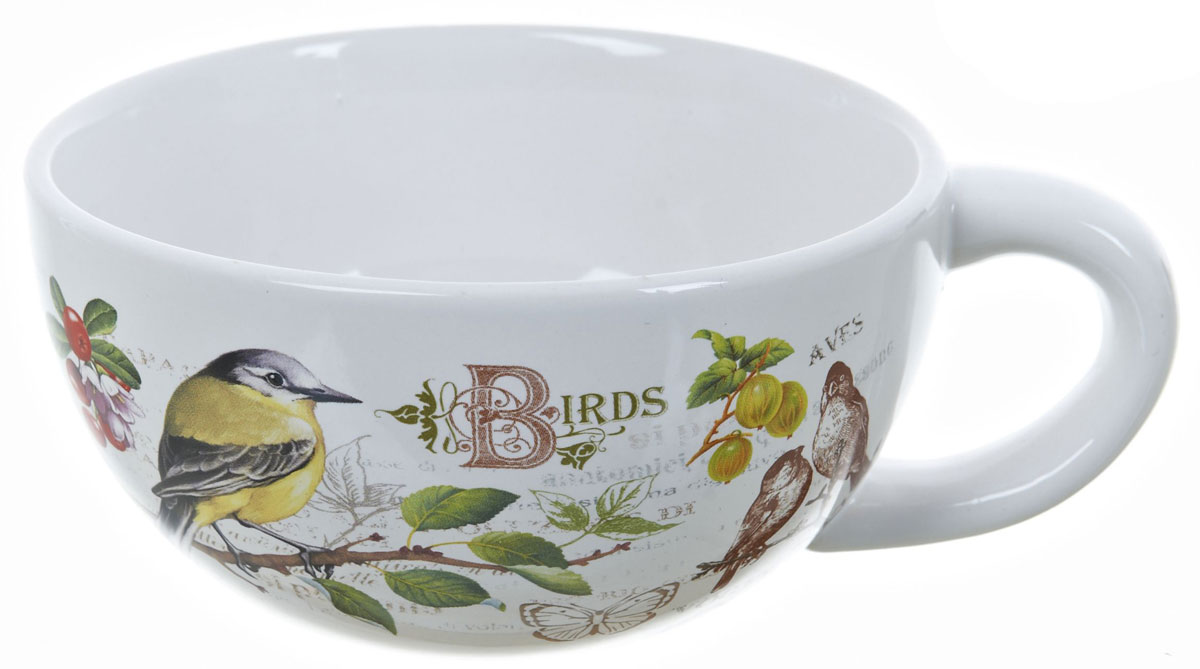 Кружка суповая ENS Group Birds, 500 мл54 009312Кружка ENS Group Birds изготовлена из высококачественной керамики. Кружа предназначена для супов и жидких блюд. Изделие украшено изящным рисунком в виде птиц и ягод. Объем: 500 мл. Диаметр кружки (по верхнему краю): 13 см. Размер кружки (с учетом ручки): 17 х 13 х 6,5 см.