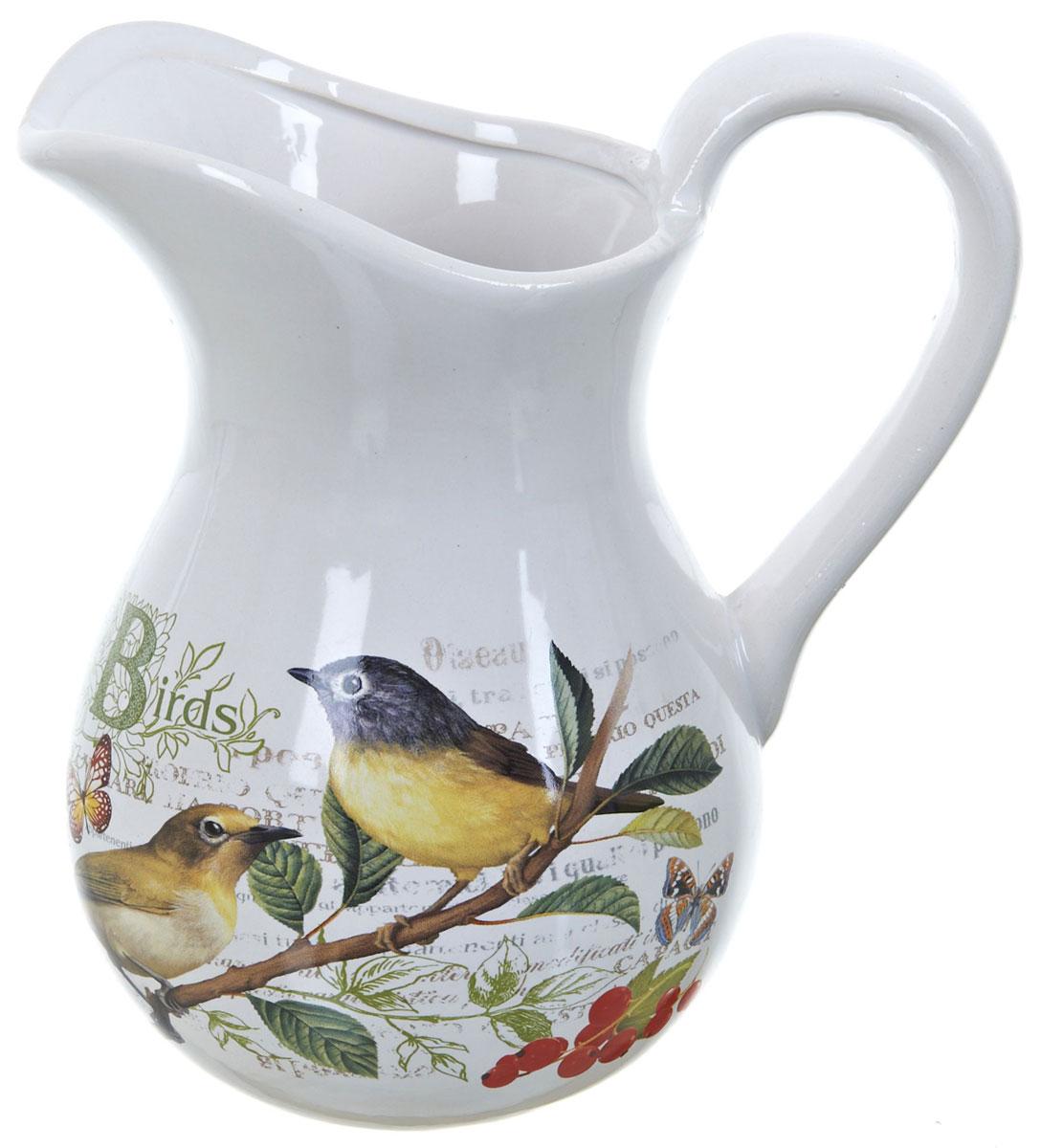 Кувшин ENS Group Birds, 1 лVT-1520(SR)Кувшин Birds изготовлен из высококачественной керамики с изящным рисунком и оснащен удобной ручкой. Изделие прекрасно подходит для подачи воды, сока, компота и других напитков. Изящный кувшин красиво оформит стол и порадует вас элегантным дизайном и простотой ухода.