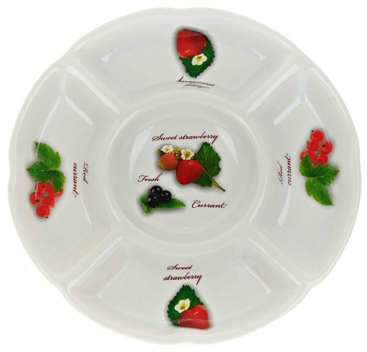 Менажница ENS Group Садовая ягода, 5 секций, диаметр 24 см. L252028454 009312Менажница Садовая ягода, изготовленная из высококачественной керамики. Менажница состоит из 5 секций, предназначенных для подачи сразу нескольких видов закусок, нарезок, соусов и варенья.Оригинальная менажница станет настоящим украшением праздничного стола и подчеркнет ваш изысканный вкус.Можно мыть в посудомоечной машине.