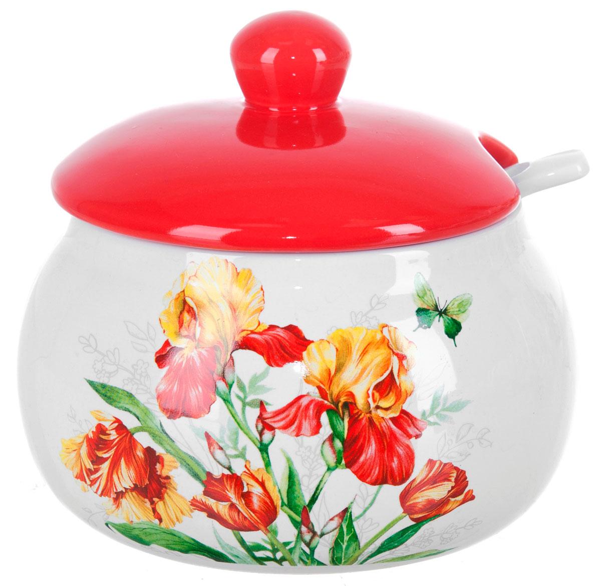 Сахарница ENS Group Касатик, с ложкой, 500 мл115510Сахарница Касатик с крышкой и ложкой изготовлена из керамики и украшена ярким рисунком.Емкость универсальна, подойдет как для сахара, так и для специй или меда. Можно мыть в посудомоечной машине.