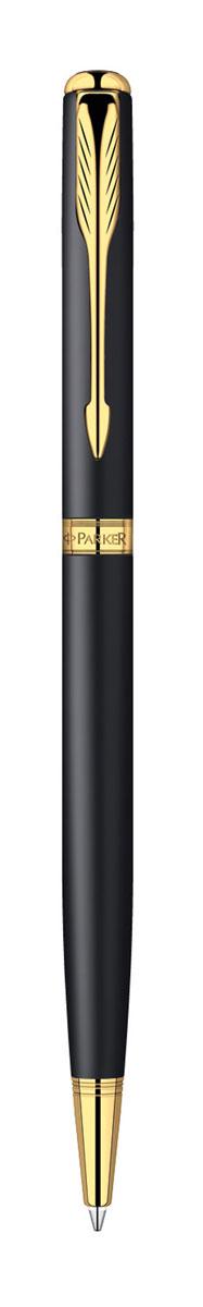 Parker Ручка шариковая Sonnet Slim Matte Black GT цвет чернил черныйPARKER-S0818030Тонкая шариковая ручка Parker Sonnet Slim Matte Black GT с поворотным механизмом - это гарант вашего неповторимого стиля и элегантности. Ручка заправлена стержнем с черными чернилами. Корпус ручки выполнен из латуни с эффектом эпоксидной смолы, отделка - позолота. Оригинальная гравировка Parker. Толщина линии - средняя. Шариковая ручка упакована в фирменную коробку с логотипом компании Parker. В коробке предусмотрено дополнительное отделение, в котором расположен международный гарантийный талон. Оригинальная ручка Parker Sonnet Slim Matte Black GT подчеркнет стиль и элегантность ее владельца и станет превосходным подарком ценителю изящества и роскоши.Ручка - это не просто пишущий инструмент, это - часть имиджа, наглядно демонстрирующая статус, характер и образ жизни ее владельца.