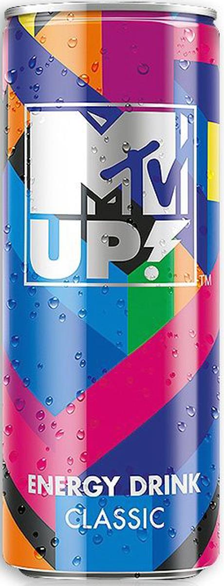 MTV UP! Классик напиток энергетический газированный, 0,25 л0120710Энергетический напиток MTV UP! Classic содержит натуральный кофеин, L-карнитин, экстракт семян гуараны и экстракт женьшеня. А также витамины C, B6, B12. Тонизирующий напиток не содержит консервантов.