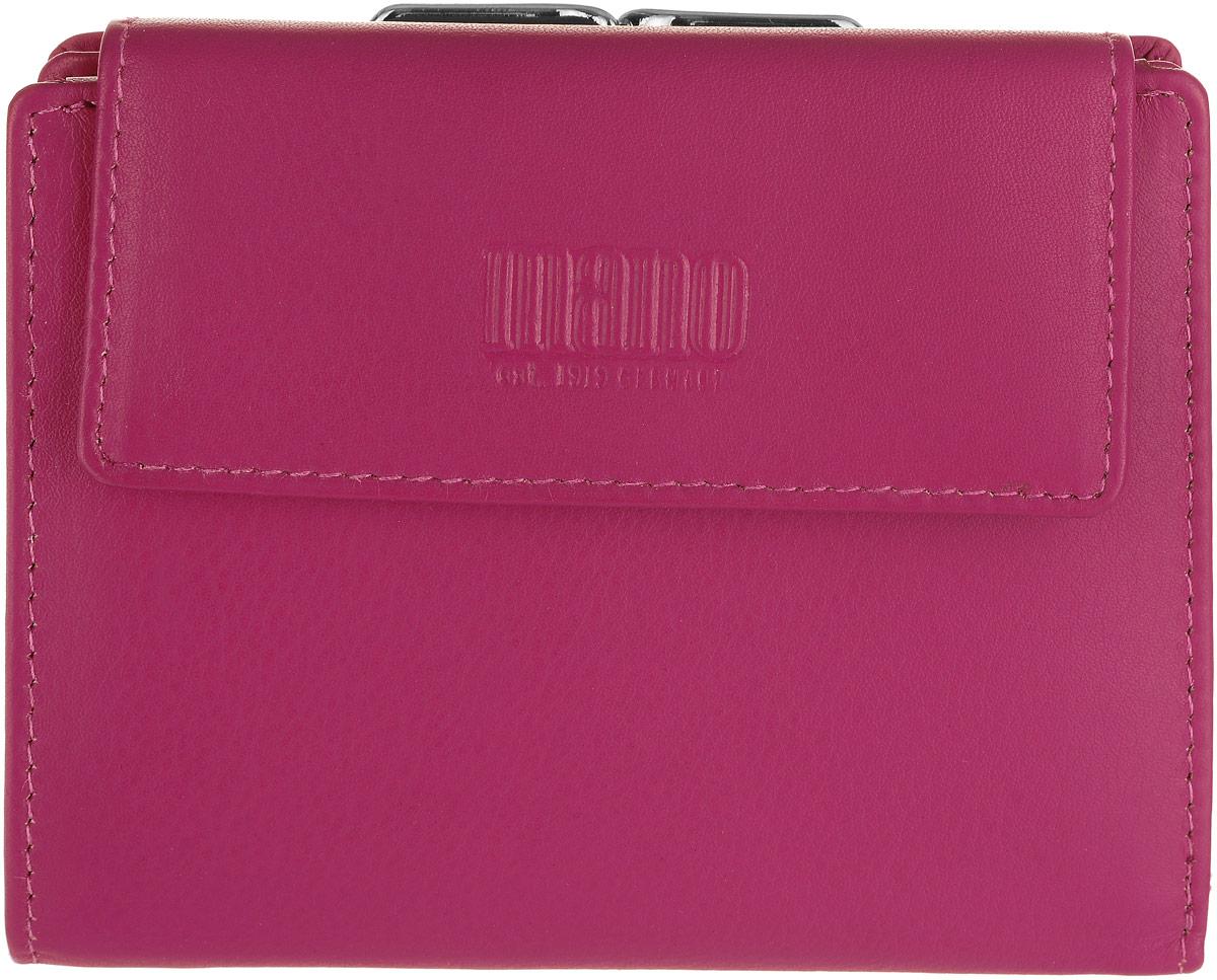 Кошелек женский Mano, цвет: розовый. 20103AQYHA03387-KRP0Женский кошелек Mano выполнен из натуральной высококачественной кожи. Изделие закрывается клапаном на застежку-кнопку. Внутри располагаются три отделения для купюр, десять отделений для кредитных карт или визиток, одно из которых с сетчатым окошком, три скрытых кармашка. Снаружи двойное отделение для мелочи, которое закрывается при помощи рамочного замка.