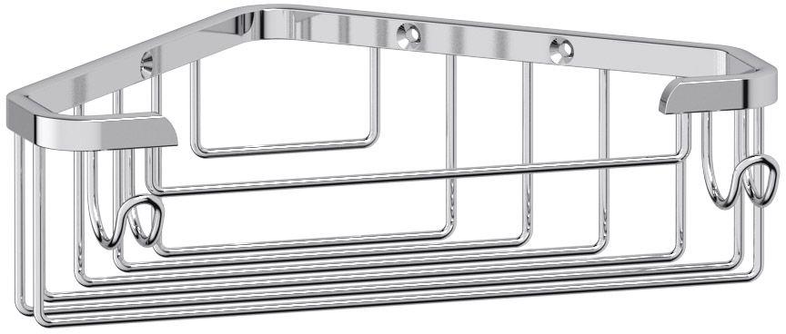 """Полочка-решетка для ванной FBS """"Ryna"""", с крючками, угловая, 18 см, цвет: хром. RYN 002"""