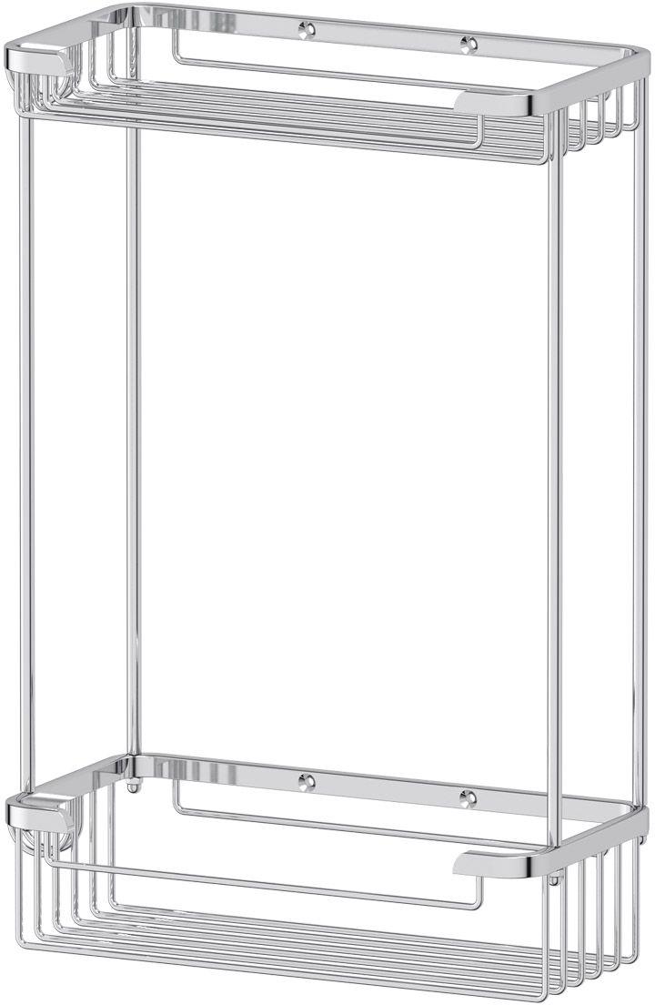 """Полочка-решетка для ванной FBS """"Ryna"""", с крючками, 2-х ярусная, 20/20 см, цвет: хром. RYN 020"""