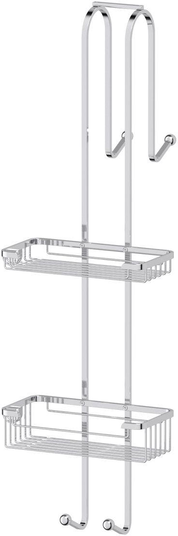 Полочка-решетка для ванной FBS  Ryna , с крючками, 2-х ярусная, навесная 20/20 см, цвет: хром. RYN 028 - Полки и стеллажи