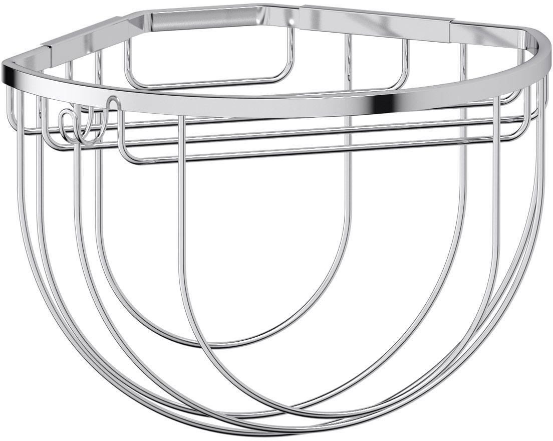 """Полочка-решетка для ванной FBS """"Ryna"""", с крючком и держателем мочалок, угловая, 26 см, цвет: хром. RYN 034"""
