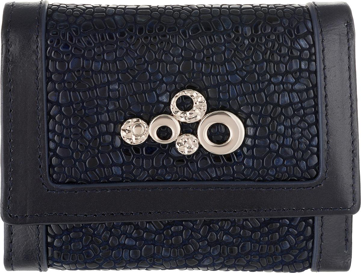 Кошелек женский Labbra, цвет: темно-синий. L043-890021-022_516Женский кошелек Labbra выполнен из натуральной высококачественной кожи. Изделие закрывается клапаном на застежку-кнопку. Внутри располагаются три отделения для купюр, одно их которых на молнии, три отделения для кредитных карт или визиток, одно из которых с прозрачным окошком, два скрытых кармашка и отделение для мелочи на застежке-кнопке.
