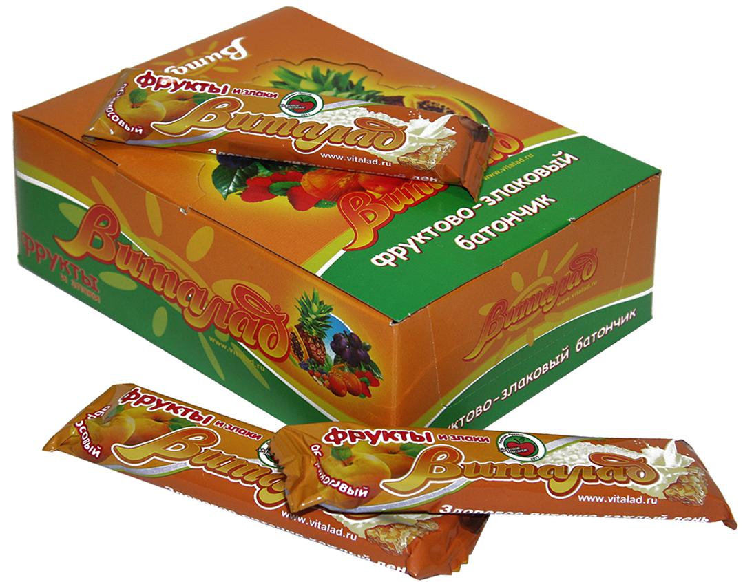 Виталад Абрикосовый злаковый батончик, 24 шт по 40 г0120710В составе хлопья 4-х зерновые (овсяные, ржаные, пшеничные, ячменные). Баланс витаминов и микроэлементов. Без сахара.