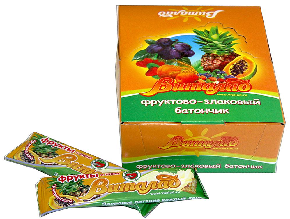 Виталад Тропический злаковый батончик, 24 шт по 40 г0120710В составе хлопья 4-х зерновые (овсяные, ржаные, пшеничные, ячменные). Баланс витаминов и микроэлементов. Без сахара.
