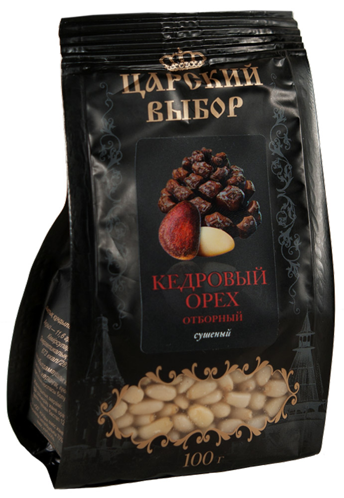 Царский выбор Кедровый орех отборный сушеный, 100 г0120710Кедровые орехи богаты витаминами К, Е, А, В1, В2, В3, В6 и В12. Особо ценные - жирные кислоты, которых в орехах максимальное количество. Растительный белок идеально сбалансирован, по составу близок к белкам ткани человека и усваивается организмом на 99%.