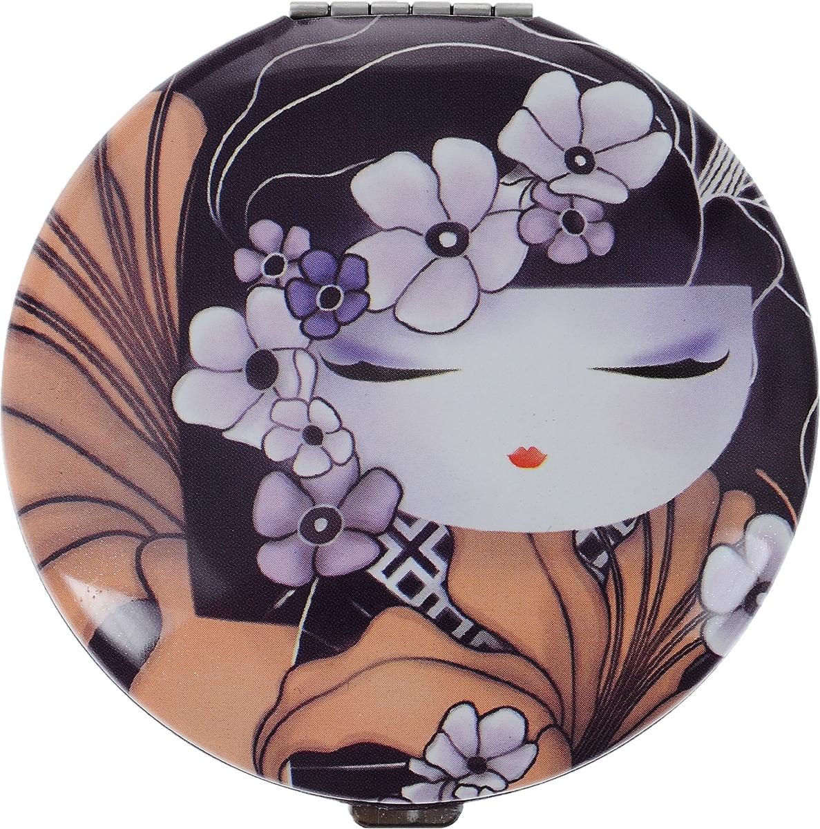 Зеркало карманное Kimmidoll Чизуру. KF11181301210Изящное зеркало Kimmidoll Чизуру выполнено в круглом металлическом корпусе и декорировано ярким изображением. Внутри корпуса расположено два зеркальца - обычное и увеличивающее.Такое зеркало станет отличным подарком представительнице прекрасного пола, ведь даже самая маленькая дамская сумочка обязательно вместит в себя миниатюрное зеркальце - атрибут каждой модницы.