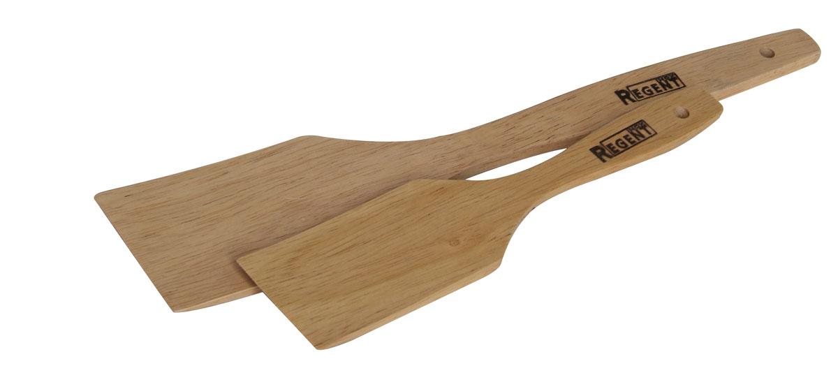 Набор кулинарных лопаток Regent Inox Bosco, 2 шт93-BO-5-01Кулинарные лопатки Regent Inox Bosco изготовлены из гевеи. Лопатки не царапают поверхность посуды и не проводят тепло, что делает их идеальными для перемешивания горячих продуктов. Удобная ручка не позволит выскользнуть лопатке из вашей руки. С помощью отверстия на ручке лопатки можно подвесить в любом удобном для вас месте. Практичные и удобные лопатки Regent Inox Bosco займут достойное место среди аксессуаров на вашей кухне.Длина лопаток: 19 см; 28 см.Ширина рабочей поверхности лопаток: 4 см; 5 см.
