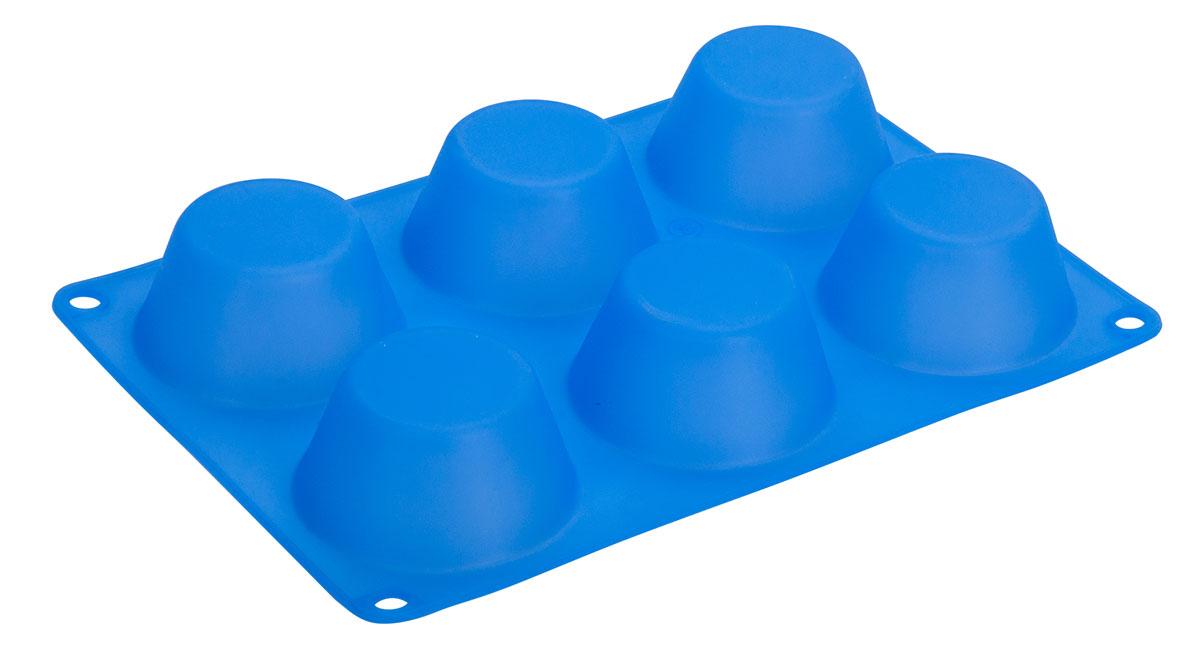 Форма для кексов Regent Inox , силиконовая, цвет: голубой, 6 ячеек, 24,5 х 16,5 х 3,5 смTK 0212Форма Regent Inox выполнена из силикона, который безопасен для здоровья. Он не впитывает запахи, не оставляет пятен и не выделяет вредных веществ в пищу. Готовая выпечка вытаскивается из эластичного и крепкого изделия очень просто, а в период изготовления не пригорает. Форма рассчитана на шесть кексов. Данную форму можно мыть водой с неабразивными моющими средствами или в посудомоечной машине.