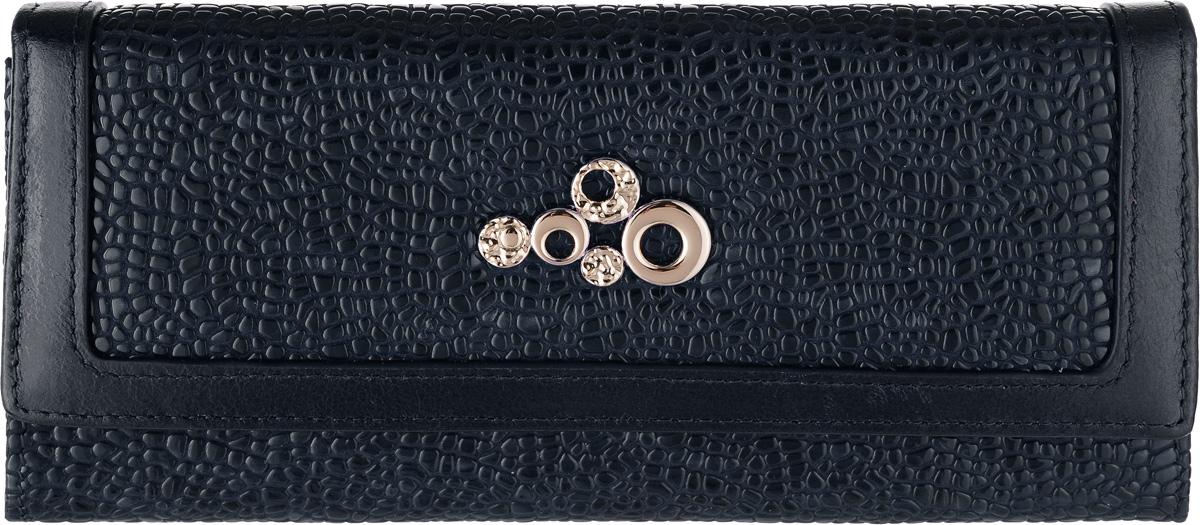 Кошелек женский Labbra, цвет: темно-синий. L043-1656BM8434-58AEКошелек Labbra выполнен из натуральной кожи с тиснением под рептилию и оформлено металлической пластинкой оригинальной формы. На тыльной стороне расположен открытый накладной карман. Изделие закрывается клапаном на кнопку. Внутри расположено два вместительных отделения для купюр, два открытых кармана для бумаг и отделение для мелочи, закрывающееся на молнию. Также внутри расположено 12 карманов для визитных и дисконтных карт, четыре из которых с прозрачными окошками. Изделие упаковано в фирменную коробку. кожа лакированная с тиснением