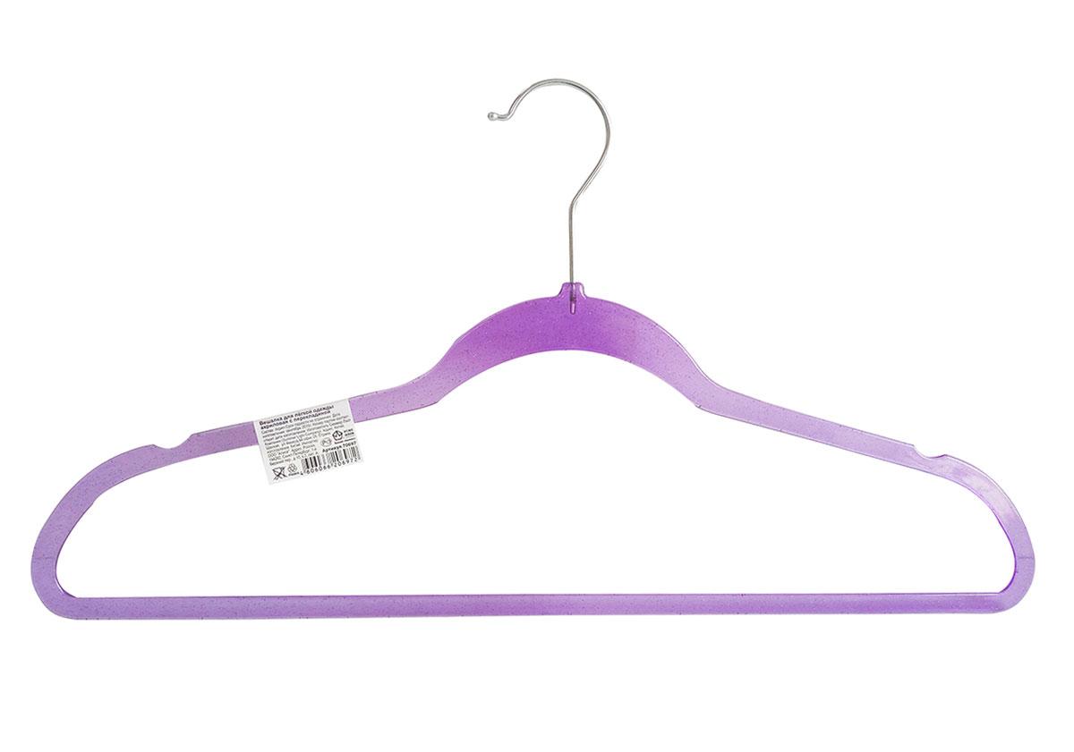 Вешалка HomeQueen, акриловая, с перекладиной, цвет: фиолетовый, длина 45 см70697Вешалка для одежды HomeQueen, выполненная из акрила и металла, идеально подойдет для разного вида одежды. Она имеет надежный крючок и перекладину для брюк.Вешалка - это незаменимая вещь для того, чтобы ваша одежда всегда оставалась в хорошем состоянии.Размер вешалки: 45 х 0,5 х 22 см.
